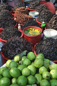 Mouth watering Achar and guavas in street vans... Dhaka...