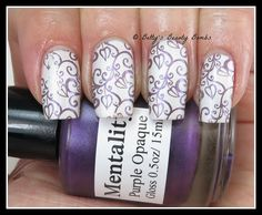 Mentality - Purple Opaque and Spackle, nail art and review by Betty's Beauty Bombs. Betty used Pueen plate 76. Polishes available @ mentalitynailpolish.com mentality-purple-opaque