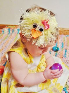 Easter chick character hair bow by DarlingBow on Etsy, $5.00