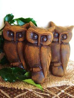 Set 3 SPOOKY Halloween BLACK OWLS Blackened by BlackRockFolkArt, $12.99