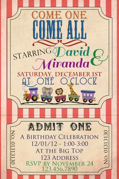 Circus/Carnival Birthday Invitation - Printable - 4x6
