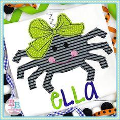 Spider Big Bow Bean Stitch Applique Design