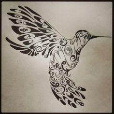 """Hummingbird tribal tattoo with the word """"mom"""" on it. #TattooModels #tattoo"""