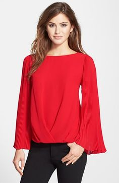 Vince Camuto Pleat Sleeve Folded Front Blouse (Regular & Petite) available at #Nordstrom