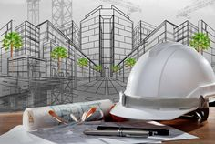 file of safety helmet and architect pland on wood table with sunset scene and building construction Stock Photo , Construction Contractors, Construction Services, New Construction, Civil Engineering Logo, Civil Engineering Construction, Engineering Girls, Ing Civil, Amazing Buildings, Interior Decorating