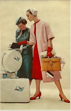 "Evelyn Tripp, Charm Magazine, 1954.  So many things to look at... red gloves, camera, round ""suitcase"", hats,..."