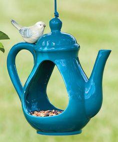This Blue Teapot Bird Feeder is perfect! #zulilyfinds