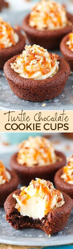 Turtle Chocolate Cookie Cups filled with caramel cheesecake and a sprinkle of pecans! (dessert ideas for party homemade) Mini Desserts, Cookie Desserts, Easy Desserts, Delicious Desserts, Dessert Recipes, Yummy Food, Plated Desserts, Dessert Ideas, Chewy Chocolate Cookies