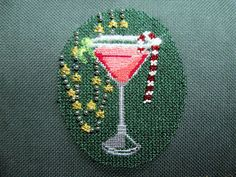 Leigh Designs Christmas cocktail needlepoint