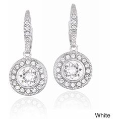 Crystal Ice Silvertone Crystal Halo Earrings with Swarovski Elements ($16) ❤ liked on Polyvore featuring jewelry, earrings, white, polish jewelry, long crystal earrings, white dangle earrings, crystal earrings and sparkle jewelry