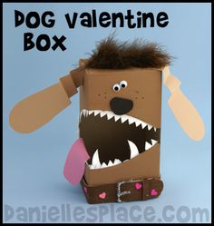 Dog Valentine's Day Box Craft Kids Can Make Kinder Valentines, Valentine Day Boxes, Valentines For Boys, Valentines Day Party, Valentine Day Crafts, Valentine Ideas, Printable Valentine, Valentine Nails, Homemade Valentines