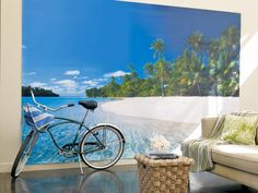 Fill a blank wall with a beach scene. Dorm Room Decorating Ideas & Decor Essentials from HGTV >> http://www.hgtv.com/design/decorating/design-101/20-chic-and-functional-dorm-room-decorating-ideas-pictures?soc=pinterest