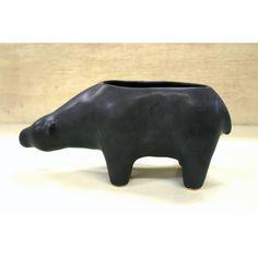 黒くま植木鉢-大 - 手作り陶器のお店*工房歩知歩智(ぼちぼち)