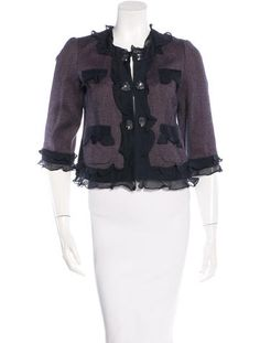 Purple and multicolor Rebecca Taylor collarless wool blazer with ruffle accents throughout, dual slit pockets at bust, dual patch pockets at front, three-quarter sleeves, embelsishemnts and hook-and-eye closures at center front.
