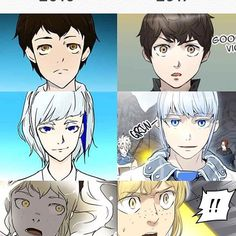 Tower of God characters, then and now UPD: I've been reading this for almost two weeks non-stop now and omg, I already forgot how awkward the style was back then xd Now I'm in the middle of the second season and it's so epic. Manhwa, Pokemon, Character Development, Manga Drawing, Webtoon, Anime Characters, Chibi, Art Drawings, Anime Art