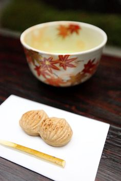 Japanese Afternoon Tea for Autumn with Wagashi Cake