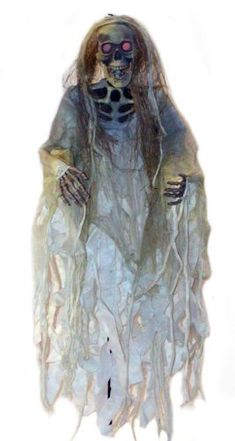 Skeleton with Gauze and Light Up Eyes Halloween Prop - Click image twice for more info - See a larger selection of  scary props at http://costumeriver.com/product-category/scary-props/ - halloween, events, holiday , trick or treat, scary, costume, halloween party , halloween decoration