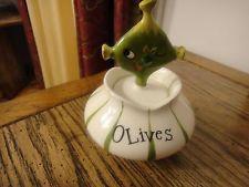 Vintage Holt Howard Pixieware Olive jar and fork