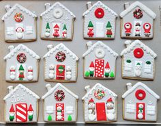 Gray Christmas Cottage Cookies - Sablés Maisonnettes de Noël Collection grise | by Jolies Gourmandises