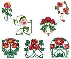 Art Nouveau Roses Machine Cross Stitch Set