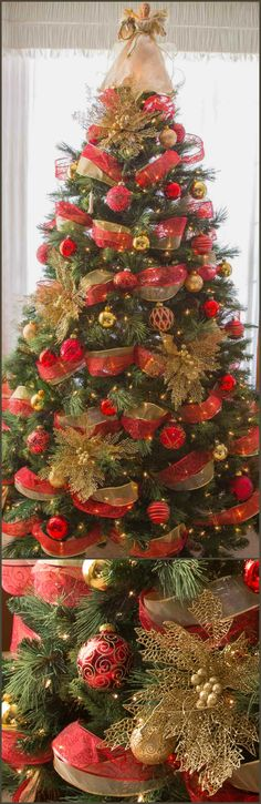 Christmas Tree decorated in red and gold