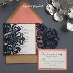 Navy and Coral Wedding Invitation Suite 3