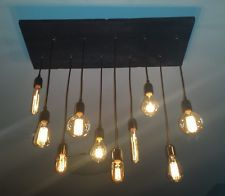 10 Bulb Upgraded Reclaimed Wood Chandelier Industrial Pendant Ceiling Light