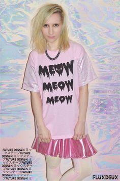 CUTE 90s STYLE PASTEL GOTH AND METALLIC CLOTHING. #Kawaii #topshop #pastelgoth #pastelgrunge #metallic #cute #cat #fashion # tiedye #90s #90sfashion #pastel #ss14