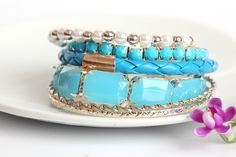 Purity Gemstone Multilayer Charm Lakeblue Bracelets for Women