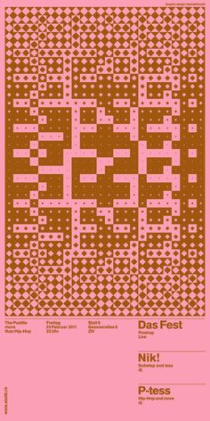 Used for the Posters and flyers for The Puddle (Stall 6), Andreas Gysin with Sidi Vanetti created this Processing for the production of the rasters, eventually screen printed on coloured paper. Built with a modified version of Toxi's cp5magic. Try the applet version of the Puddle Builder 03 (PDF export is disabled).