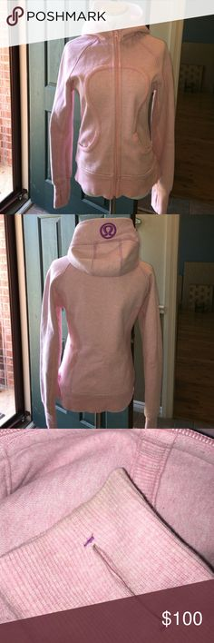 Lululemon Pink Scuba Hoodie This is one awesome jacket! It is a heathered pink and is pretty heavy and will keep you warm in the coming months. There is some wear( the jacket has a distressed quality anyway) and minor pilling on the outside and more pilling on the fleece inside the  jacket but not noticeable when wearing. The zip pull is missing the pull cord. There is some wear on the cuffs and minor discoloration on the left cuff. Make an offer! lululemon athletica Jackets & Coats