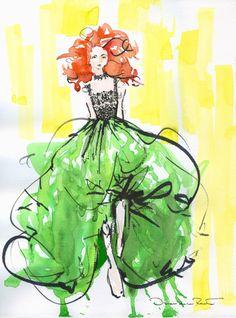 Fashion sketch by Oscar de la Renta