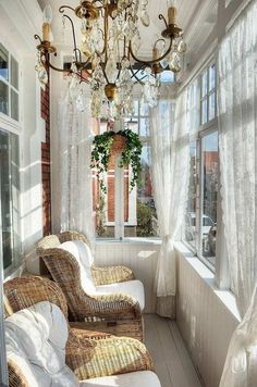 woven chair, chandelier, hanging plant, window sheets