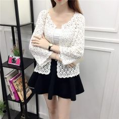 Camisas Mujer 2017 Spring Summer Crochet White Lace Blouse Women Fashion Tops Sexy Hollow Out Knitted Cardigan Chemise Femme 11 White Lace Blouse, White Beige, Sweaters For Women, Bell Sleeve Top, Womens Fashion, Crochet Tops, Front Porches, Spring Summer, Sweatshirts