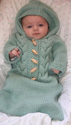 Knitting pattern for Cabled Baby Bunting cocoon #knittingpatternsbaby