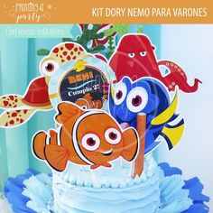 Torta Nemo Dory decorada con el Kit Imprimible. Muchas ideas para decorar tu fiesta de Dory y Nemo con estas decoraciones para imprimir y armar. Recibí tu kit en tu mail, imprimí y decorá. Nemo Y Dory, Party Printables, Disney Characters, Fictional Characters, Invitation Cards, Printables, Tags, Decorations, Invitations