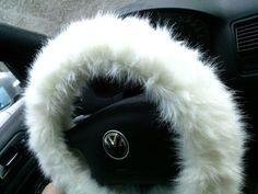 White Fuzzy Steering Wheel Cover, Car accesories, Fuzzy Car Accessories, Faux Fur Steering Wheel Cover from BeautySteeringWheel on Etsy.