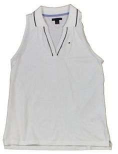 Tommy Hilfiger Women's Sleeveless Buttonless Pique Polo Shirt (White) (Medium) Tommy Hilfiger. $49.50