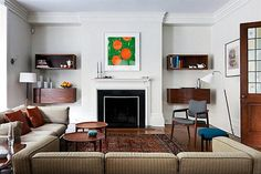 Fireplace at Mid Century Style Home Combine Modern Home Design