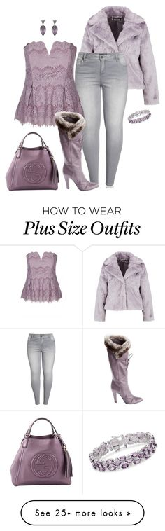 """Purple frost- plus size"" by gchamama on Polyvore featuring Boohoo, KUT from the Kloth, Marc Jacobs, Gucci, Ross-Simons, Alexis Bittar and plus size clothing"
