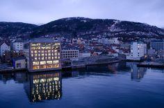 Hurtigruten's Midnatsol bids Bergen farewell as we begin our voyage up Norway's coast - in winter! Photo © 2013 Aaron Saunders
