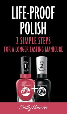 In 2 simple steps get a longer lasting manicure with Sally Hansen's Miracle Gel. #lifeproofpolish