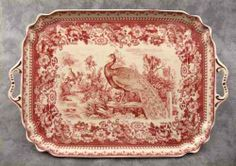 Red Cream Transferware French Peacock Toile Serving Platter Tray w Handles. Antique Dishes, Vintage Dishes, Vintage China, Red And Pink, Red And White, China Patterns, China Dinnerware, Serving Platters, Stoneware