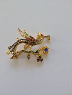 Spanish Style Vintage Enamel Bird Brooch with by PassingTides
