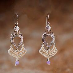 30% Off - White Macrame earrings MAGICAL amethyst earrings tribal with Goldplated element Bridal earrings TRIBAL jewelry ethnic earrings ...