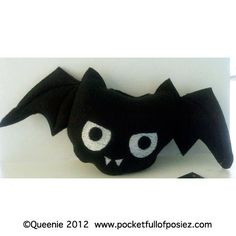 PLUSH Toy Pocket Full of Posiez (R) Angry Baby Bat Embroidered Face. $15.00, via Etsy.