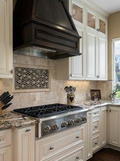 Neutral Chef Kitchen With Dark Range Hood Kitchen Interior, Kitchen Decor, Rustic Kitchen, Kitchen Hood Design, Kitchen Hoods, Cool Kitchens, Farmhouse Kitchens, Dream Kitchens, Beautiful Kitchens