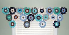 Crochet Flower Window Valance  Nautical Window Valance