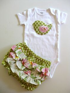 Triple ruffled bloomers with birdie onesie/shirt by Muchilunga