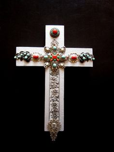 Mixed Media Cross in Silver by JeepersKeepers on Etsy